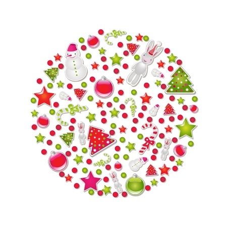 Ball Of Christmas With Symbols And Element, Illustration Stock Vector - 15385713