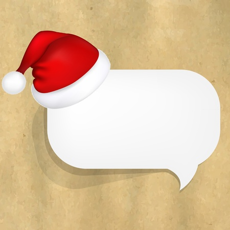Cardboard Structure With White Paper Speech Bubble And Santa Hat Vector