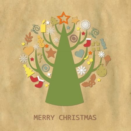 Christmas Vintage Composition With Cardboard Structure Stock Vector - 15417925