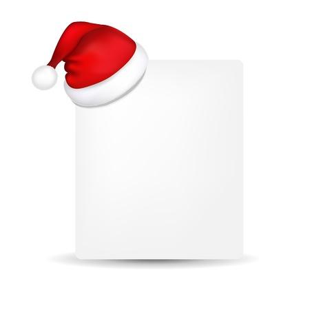 chapeau blanc: Papier blanc avec le chapeau de Santa, Isol� Sur Fond Blanc