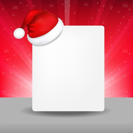 christmas hat: Blank Paper With Santa Hat And Sunburst
