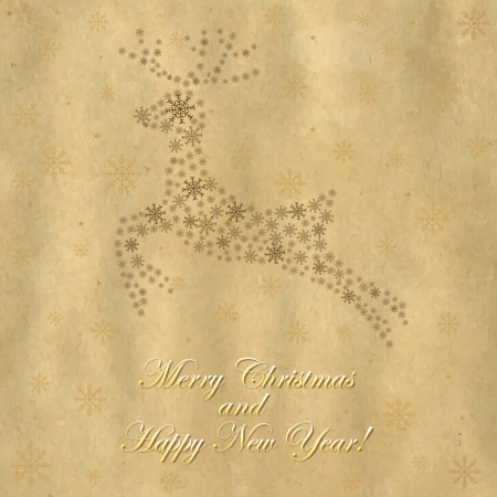 Retro Christmas Deer, Crushed Paper And Text, Vector Illustration Vector