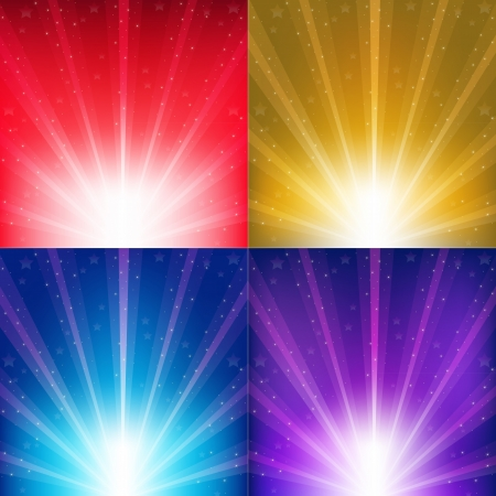 sunshine background: Abstract Color Backgrounds With Sunburst And Stars Illustration