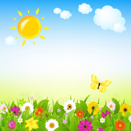 Sun And Flowers With Cloud,  Illustration Vector