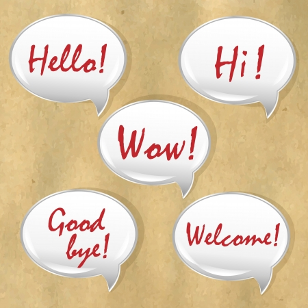 bye: Speech Bubble With Old Paper, Isolated On Old Paper Background,