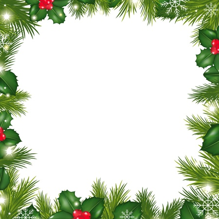 christmas wreath: Borders With Snowflakes And Holly Berry, Illustration Illustration