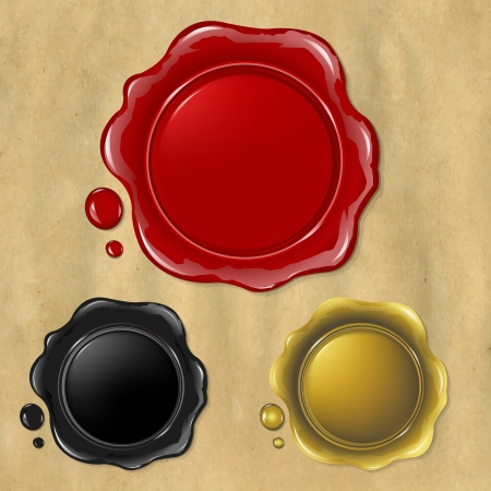 3 Wax Seal, Isolated On Old Paper Background, Illustration Vector