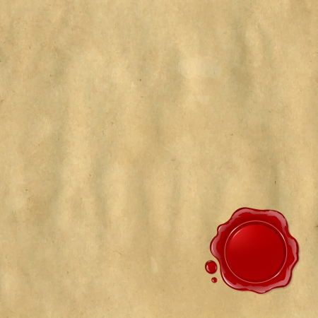 Wax Seal With Old Paper, Illustration Vector