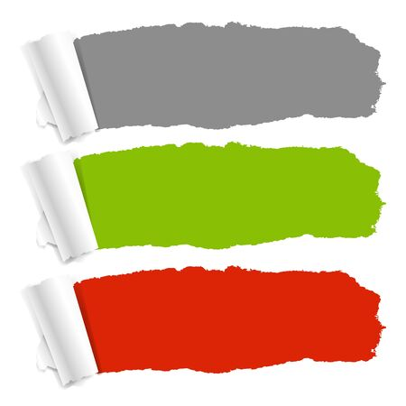 3 Color Torn Paper With Gradient Mesh Stock Vector - 16098437