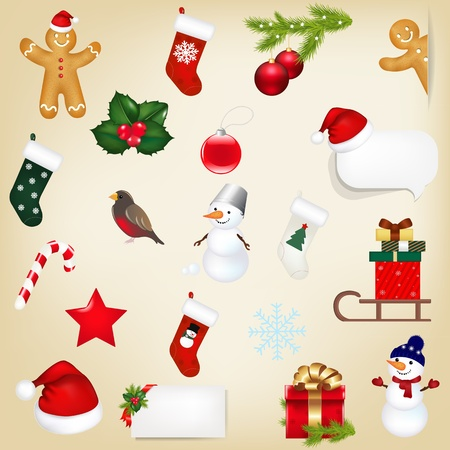 Big Set Christmas Icons With Gradient Mesh, Vector Illustration Vector