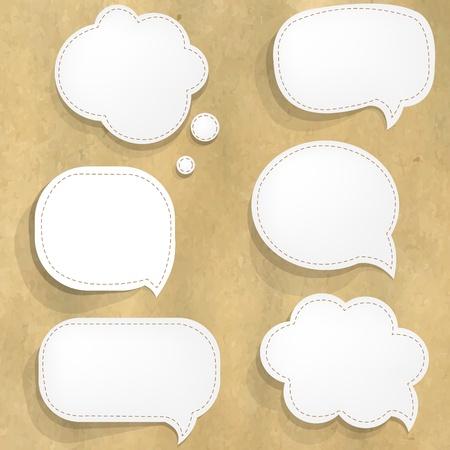 paper craft: Estructura de cartón con blanco Burbujas de papel del discurso con malla de degradado, ilustración vectorial