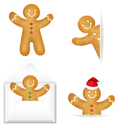 gingerbread man: 4 Gingerbread Mans With Gradient Mesh, Isolated On White Background, Vector Illustration Illustration