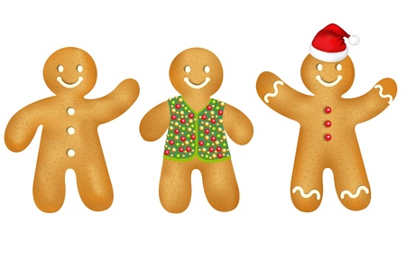 3 Gingerbread Mans With Gradient Mesh, Isolated On White Background, Vector Illustration Illustration