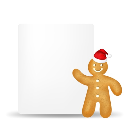 gingerbread cake: Gingerbread Man With Blank Gift Tag With Gradient Mesh, Isolated On White Background, Vector Illustration