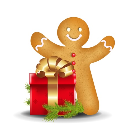 gingerbread: Gingerbread Man With Red Gift Box With Gradient Mesh, Vector Illustration