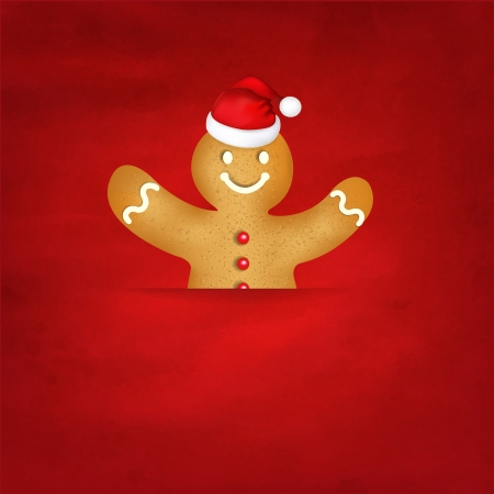 Gingerbread Man With Santa Hat And Old Red Background With Gradient Mesh, Vector Illustration Vector