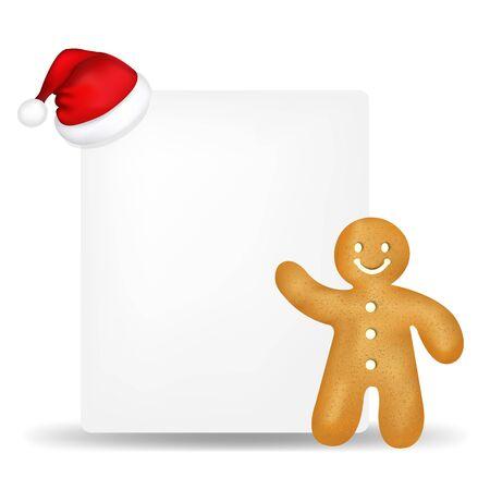 galleta de jengibre: El hombre de pan de jengibre con la etiqueta de regalo en blanco con malla de degradado, aislados en fondo blanco, ilustración vectorial