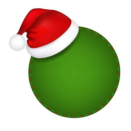 Green Speech Bubble With Santa Hat With Gradient Mesh, Vector Illustration Stock Vector - 16449004