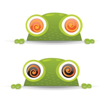 green tree frog: 2 Hypno Frogs With Gradient Mesh, Vector Illustration