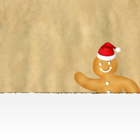 gingerbread man: Old Ripped Paper With Gingerbread Man With Gradient Mesh, Vector Illustration