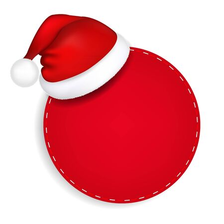 Red Speech Bubble With Santa Hat With Gradient Mesh, Vector Illustration Vector