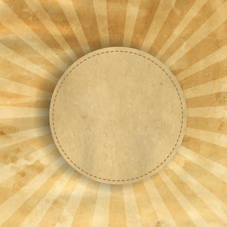 radiate: Retro Brown Vintage Square Sunburst With Gradient Mesh, Vector Illustration