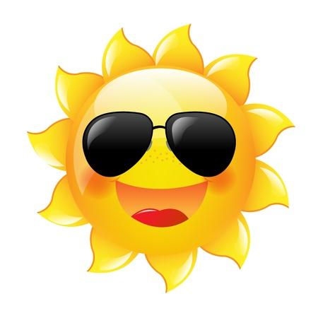 sol caricatura: Smiling Sun con gradiente de malla, Ilustración Vectorial