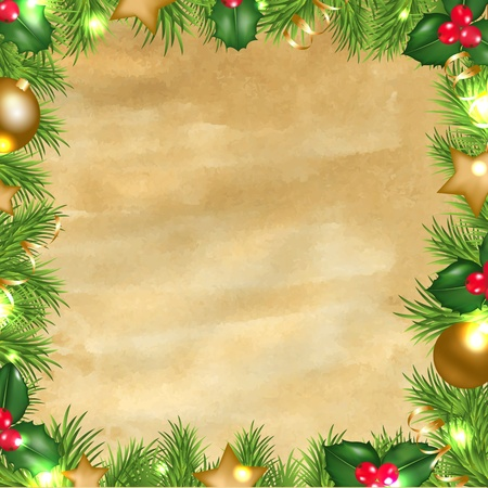 Vintage Paper Background With Christmas Border With Gradient Mesh, Vector Illustration Stock Vector - 16449021