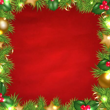 retrospect: Vintage Red Background With Christmas Border With Gradient Mesh, Vector Illustration