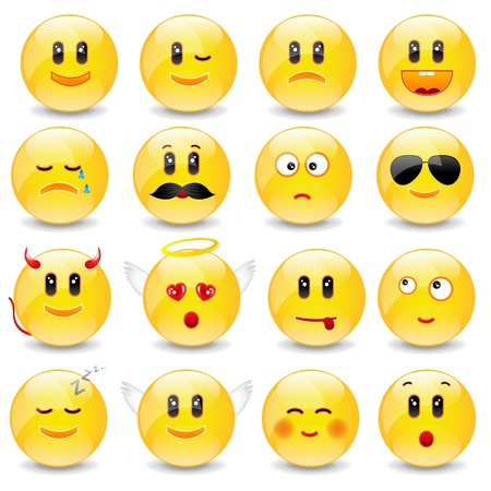 Yellow Smiley Balls With Positive And Negative Emotions With Gradient Mesh, Vector Illustration Vector