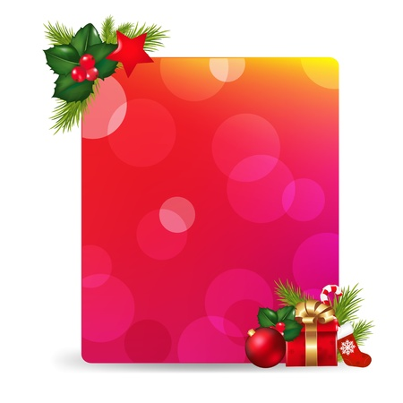Blank Gift Tag With Gift Bow And Holly Berry, Isolated On White Background With Gradient Mesh Vector