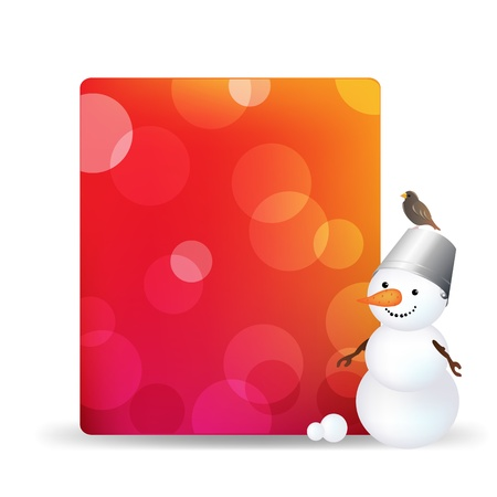 Blank Gift Tag With Snowman And Bird, Isolated On White Background With Gradient Mesh Stock Vector - 16815945