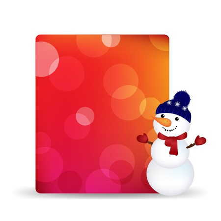 snowball: Blank Gift Tag With Snowman And Bokeh, Isolated On White Background With Gradient Mesh Illustration