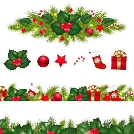 그라데이션 메쉬와 흰 배경에 고립 된 크리스마스 화 환을 사용 하여 설정하는 크리스마스 테두리