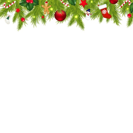 christmas sock: Christmas Border With Xmas Garland Isolated On White Background With Gradient Mesh