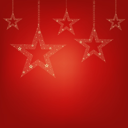 background pictures: Christmas Red Card Christmas Stars With Gradient Mesh