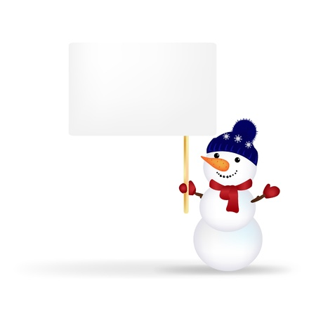 Christmas Snowman With Announcement, Isolated On White Background With Gradient Mesh Stock Vector - 16815882