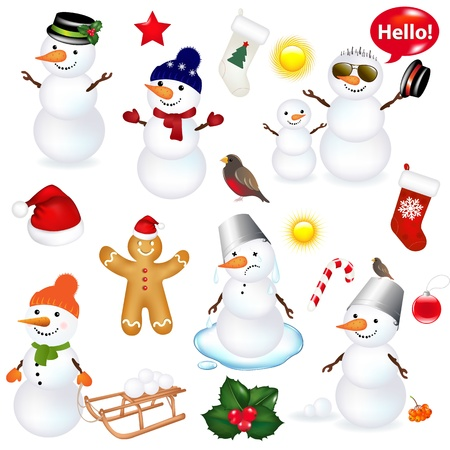 Collection Of Snowmen And Christmas Icons, Isolated On White Background With Gradient Mesh Stock Vector - 16815898