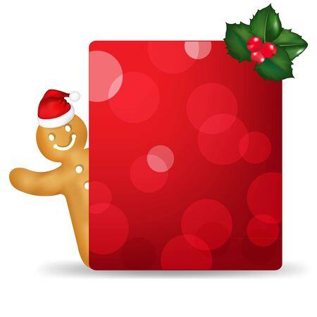 galleta de jengibre: El hombre de pan de jengibre con sombrero de Santa y blanco Etiqueta del regalo y de la baya Acebo Con Gradient Mesh Vectores