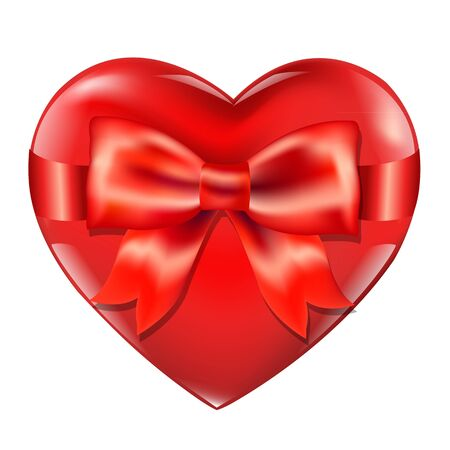 Heart With Red Bow Isolated On White Background With Gradient Mesh Vector