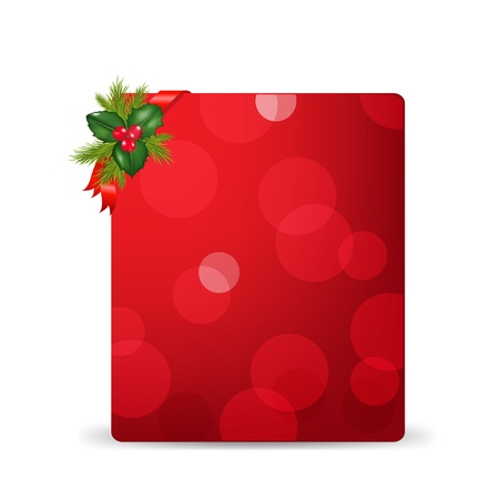 holly berry: Red Blank Gift Tag And Holly Berry And Ribbon, Isolated On White Background With Gradient Mesh Illustration