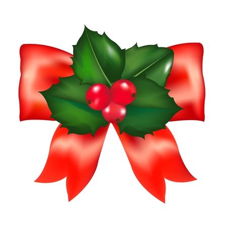 aquifolium: Red Bow With Holly Berry With Gradient Mesh