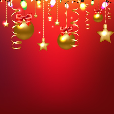 Red Card With Stars And Christmas Ball With Gradient Mesh Stock Vector - 16815877
