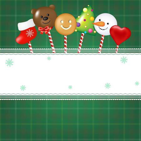 Christmas Card With Candies With Gradient Mesh Vector