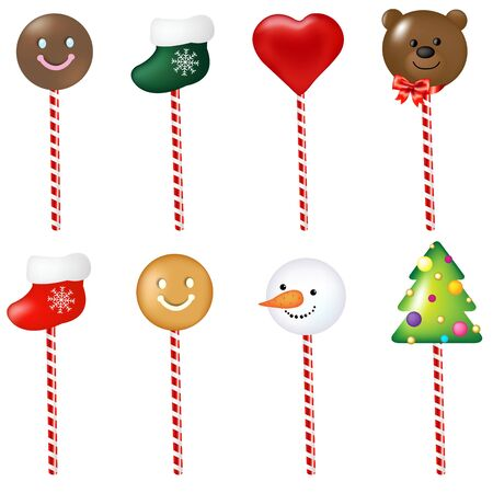 8 Xmas Color Lollypops Set Isolated On White Background, With Gradient Mesh