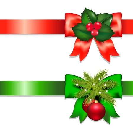 christmas fur tree: 2 Xmas Ribbons With Holly Berry And Ball Isolated On White Background, With Gradient Mesh