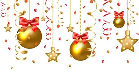 houx: Xmas Etoiles Et Boules de Noël Border Isolé Sur Fond Blanc, Avec filet de dégradé