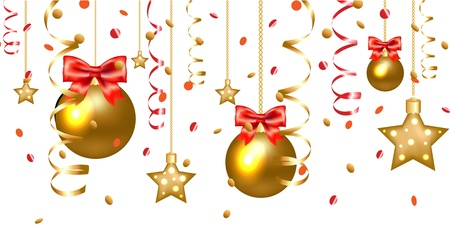 holiday background: Xmas Stars And Christmas Balls Border Isolated On White Background, With Gradient Mesh Illustration