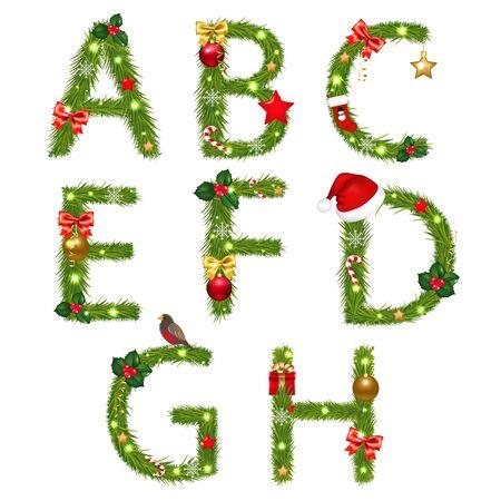 alfabeto con animales: Christmas Alphabet Aislado sobre fondo blanco, con malla de degradado, ilustraci�n Vectores