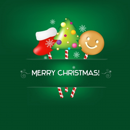 Green Christmas Poster With Candies With Gradient Mesh, Illustration Vector